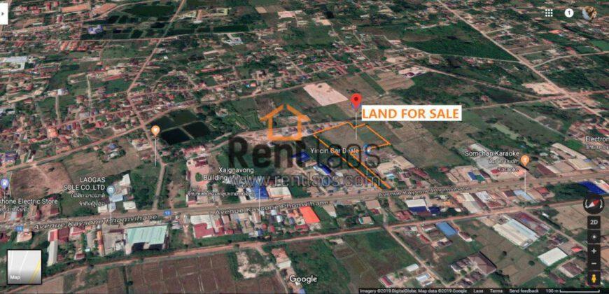 vacant land FOR SALE near national convention hall ດີນຕີດທາງໃຫຍ່ບ້ານສະພັ້ງເມີກ